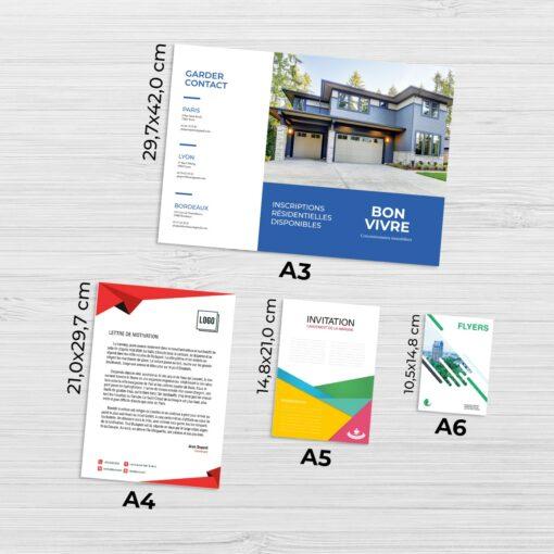 Impression au format standard A4 format groupe v4 3